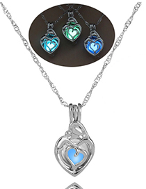 Fashion Blue Peach Hollow Hearts Night Light Bead Necklace