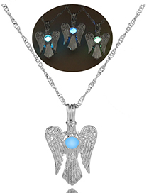 Fashion Blue Green Wings Owl Wings Luminous Beads Necklace
