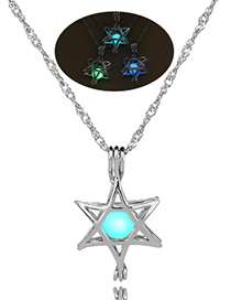 Fashion Yellow-green Six-star Hollow Six-pointed Star Luminous Necklace