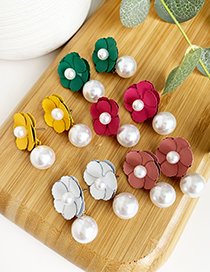 Fashion Rose Red Alloy Flower Pearl Stud Earrings