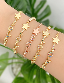 Fashion Gold Copper Inlaid Zircon Beaded Letter Love Pentagram Bracelet