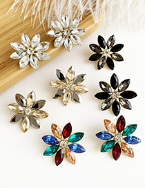 Fashion Black Alloy Diamond Flower Earrings