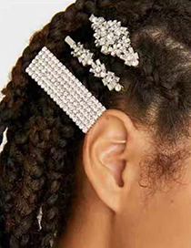 Fashion Silver Alloy Set With Diamond Hair Clips