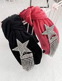 Fashion Black Fabric Knotted Rhinestone Pentagram Tassels Headband