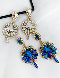 Fashion Ab Color Alloy Stud Earrings With Diamonds