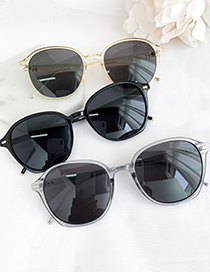 Fashion Yellow Frame + Grey Lens Resin Rounded Sunglasses