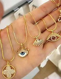 Fashion Hollow Eyes Golden Hollow Diamond Eye Alloy Necklace