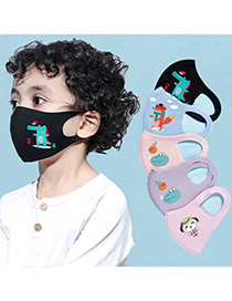 Fashion Gray Printed Sunscreen Thin Section Dustproof Breathable Washable Children Mask