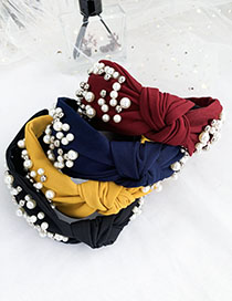 Fashion Yellow Cloth Pearls Knot Knot