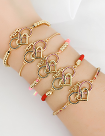 Fashion Red Copper Inlaid Zircon Woven Love Bracelet