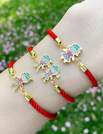Fashion Red Rope Boy And Girl Copper Inlaid Zircons Cartoon Character Bracelet