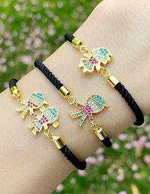 Fashion Black Rope Boy And Girl Copper Inlaid Zircons Cartoon Character Bracelet