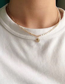Fashion Golden Alloy Pearl Sun Smile Necklace
