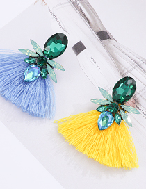 Fashion Yellow + Green Alloy Diamond Drop Tassel Earrings
