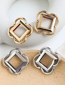 Fashion Gold Color Alloy Square Flower Earrings