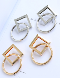 Fashion Silver Alloy Square Round Earrings