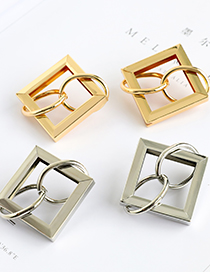 Fashion Silver Alloy Square Round Buckle Earrings