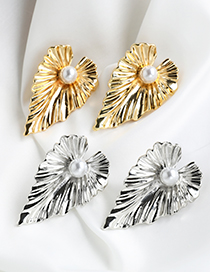 Fashion Gold Color Alloy Pearl Leaf Earrings
