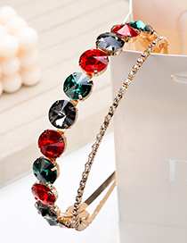 Fashion Colorful Double-layer Hair Band With Alloy Diamond And Round Diamond