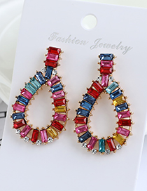 Fashion Color Hollow Drop Earrings With Alloy Diamonds