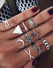 Fashion Silver Alloy Moon Flower Triangle Ring Set