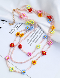 Fashion Color Alloy Rice Bead Flower Multilayer Necklace