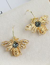 Fashion Golden Copper Inlaid Zircon Bee Studs