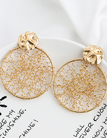 Fashion Golden Alloy Round Wire Mesh Earrings