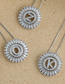 Fashion F Round Alphabet Necklace With Copper And Zircons