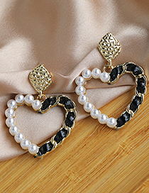 Fashion Golden Alloy Pearl Love Stud Earrings