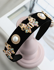 Fashion Color Fabric Alloy Diamond-set Pearl Butterfly Headband