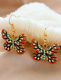 Fashion Color Butterfly Earrings With Alloy Diamonds