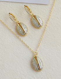 Fashion Golden Copper Inlaid Zircon Shell Necklace