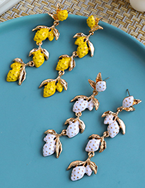 Fashion Yellow Alloy Dripping Fruit Earrings