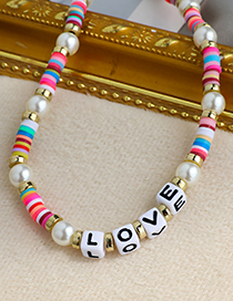 Fashion Color Resin Pearl Letter Double Necklace