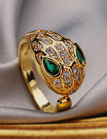 Fashion Green Copper Inlaid Zircon Serpentine Ring