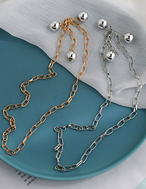 Fashion Golden Alloy Chain Round Bead Necklace