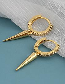 Fashion Golden Copper Inlaid Zircon Rivet Earrings