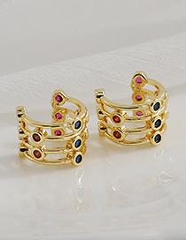 Fashion Golden Copper Inlaid Zircon Semicircular Ear Bone Clip