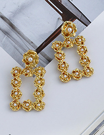 Fashion Gold Color Alloy Pearl Flower Square Earrings