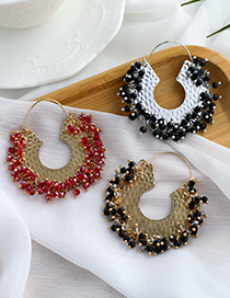 Fashion Gold Color Alloy Resin Beads Hollow U-shaped Earrings