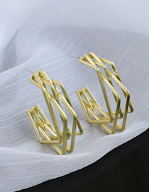 Fashion Golden Alloy Hollow Geometric Square Earrings