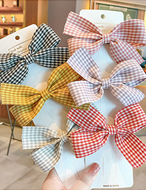 Fashion Red Plaid Bowknot Fabric Lattice Alloy Childrens Hairpin
