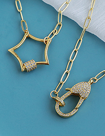 Fashion Golden Copper Inlaid Zircon Five-pointed Star Thick Chain Necklace