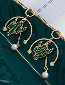Fashion Green Alloy Cactus Pearl Stud Earrings