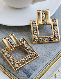 Fashion Gold Color Alloy Diamond Square Earrings
