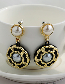 Fashion Black Alloy Pearl Chain Side Round Earrings