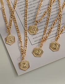 Fashion A Alloy Chain Hexagon Letter Necklace