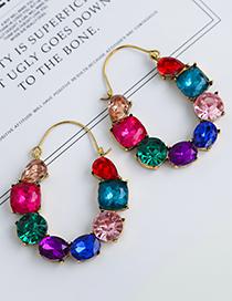 Fashion Color Alloy Diamond Geometric Shape Earrings