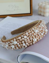 Fashion Champagne Fabric Pearl Sequin Headband